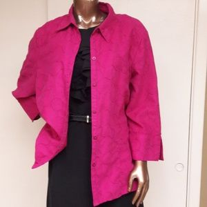 Hot Pink Ultra Suede w/Geo Stitching Shirt/Jacket